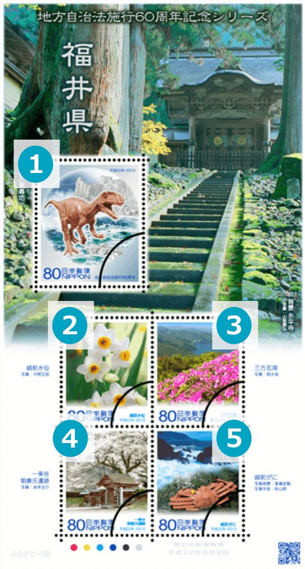 福井県の地方自治法施行60周年記念切手シリーズ