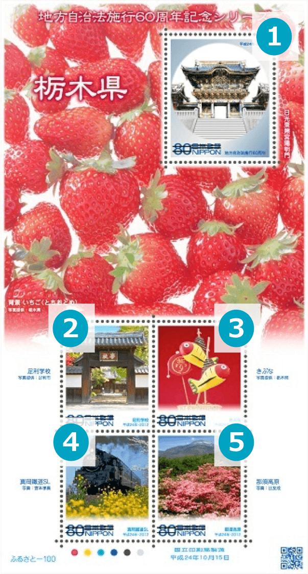 栃木県の地方自治法施行60周年記念切手