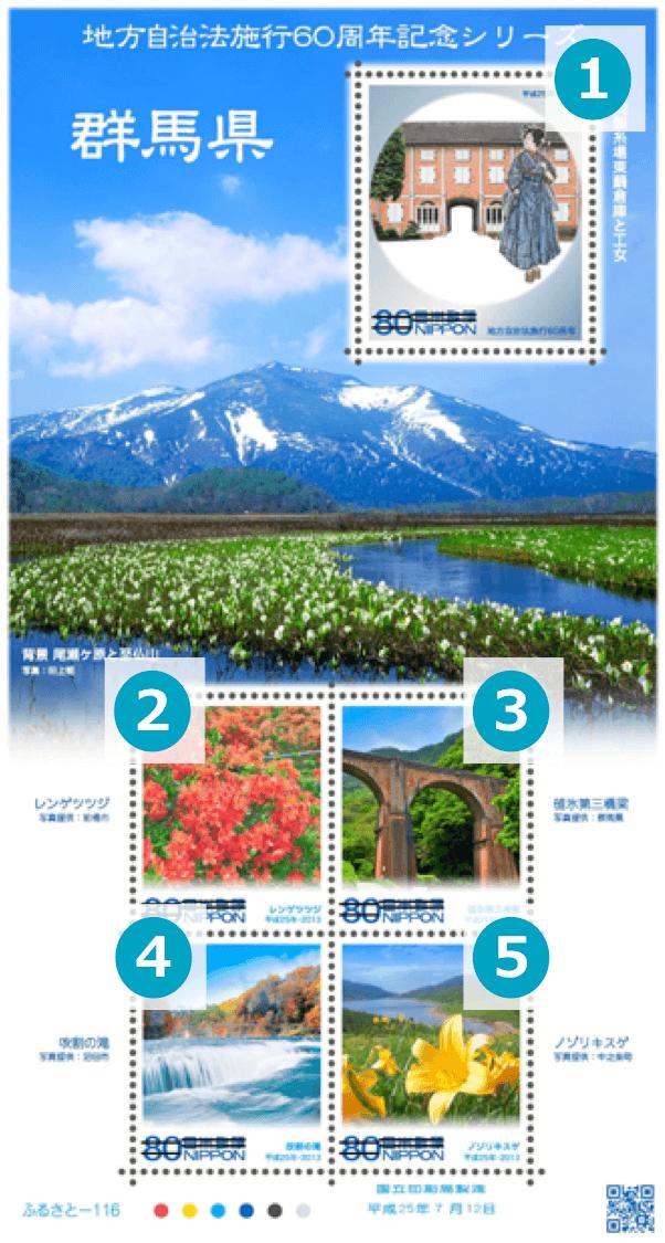 群馬県の地方自治法施行60周年記念切手