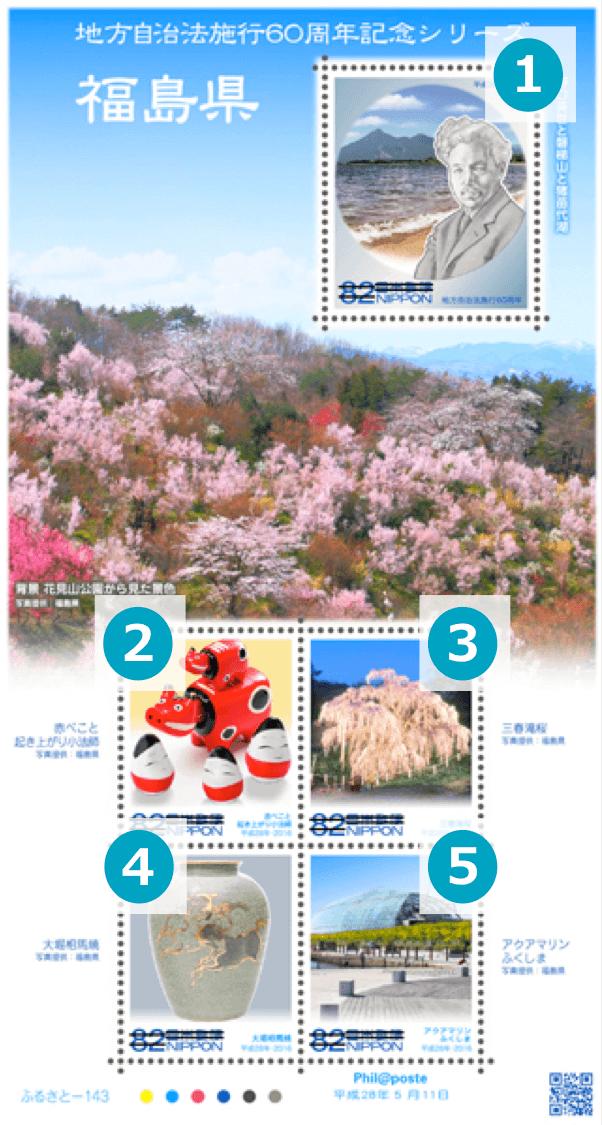 福島県の地方自治法施行60周年記念シリーズ切手