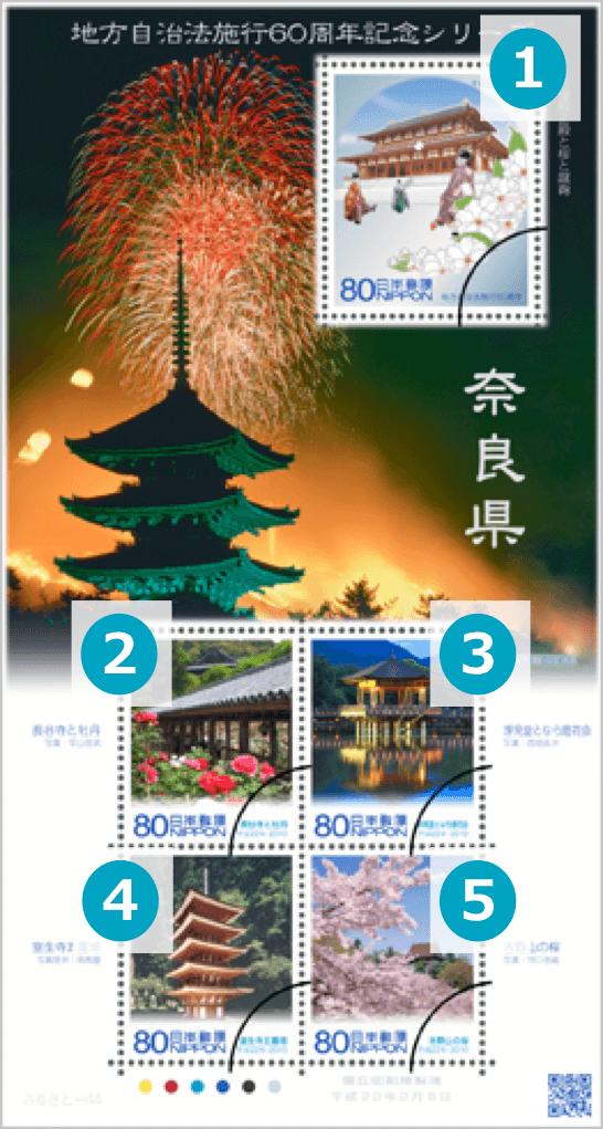 奈良県の地方自治法施行60周年記念切手