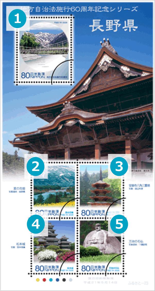 長野県の地方自治法施行60周年記念切手