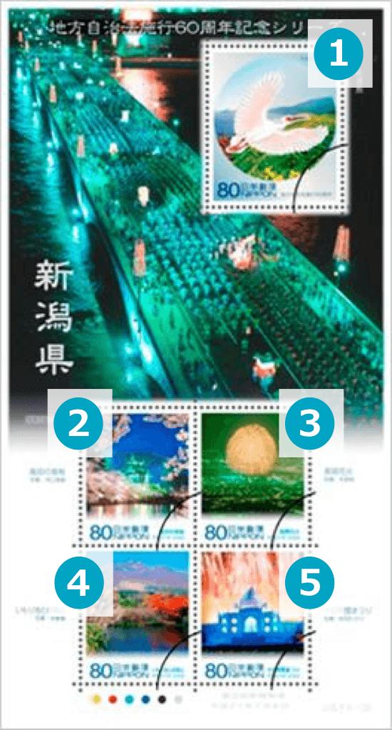 新潟県の地方自治法施行60周年記念シリーズ切手