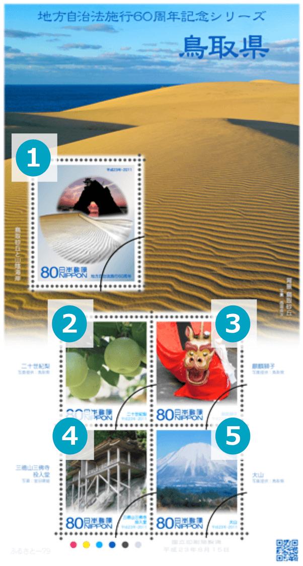 鳥取県の地方自治法施行60周年記念切手