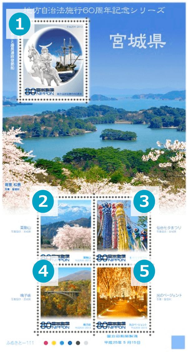 宮城県の地方自治法施行60周年記念シリーズ切手