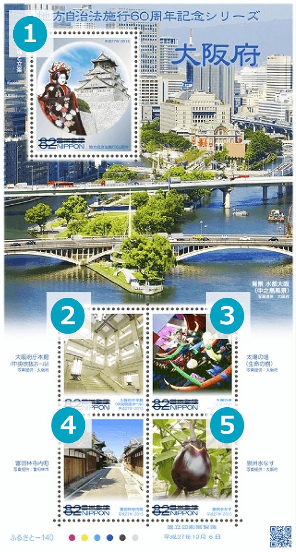 大阪府の地方自治法施行60周年記念切手